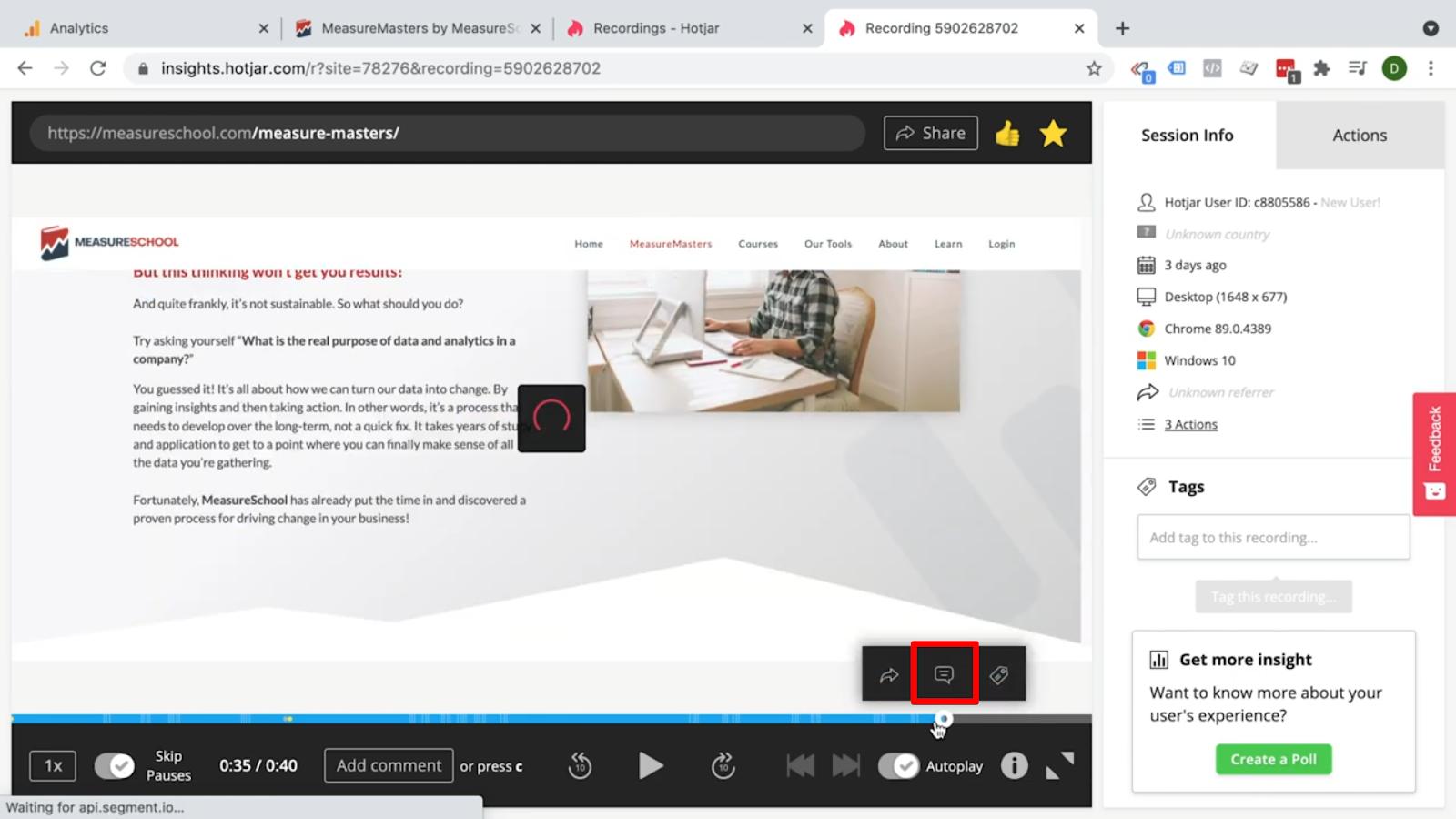 Hotjar - User recordings - Comment