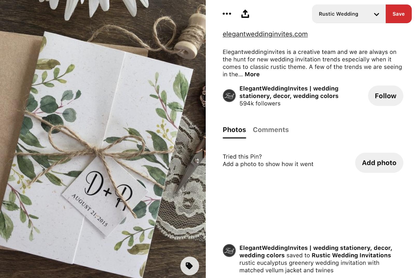 letter tag on wedding invitation