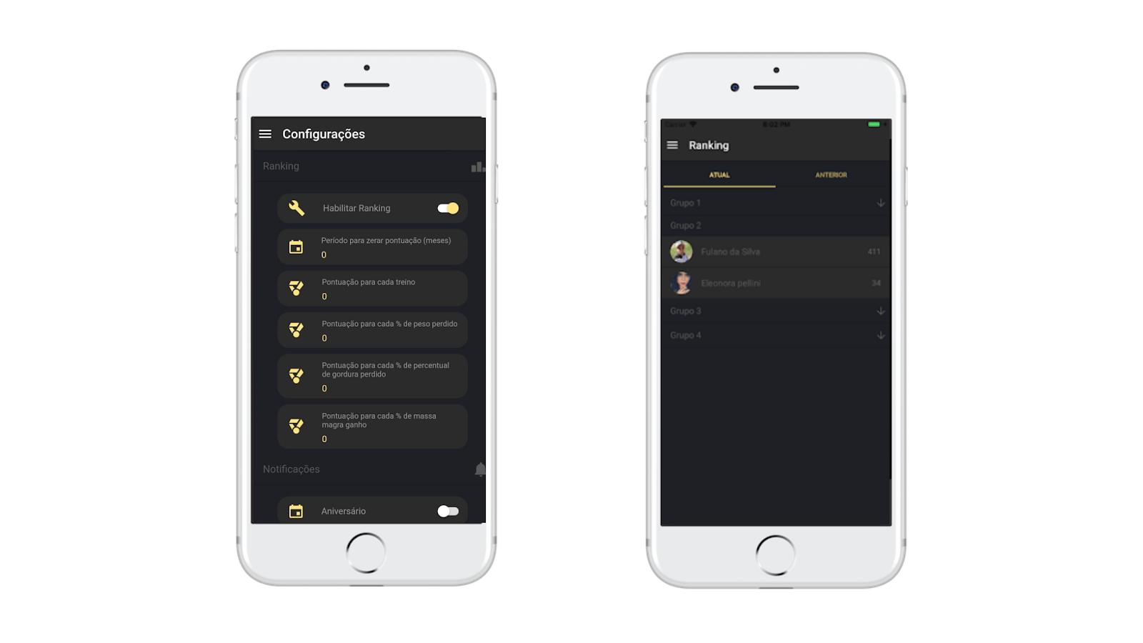 Ranking de Desafios do aplicativo de consultoria online Nexur