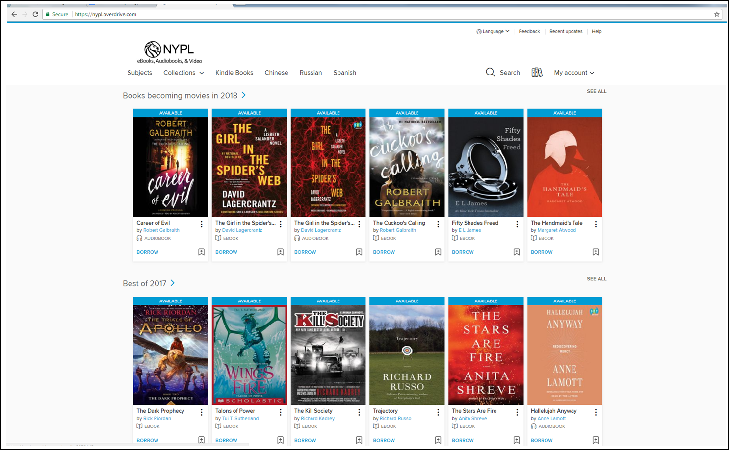Screenshot of NYPL Overdrive webpage