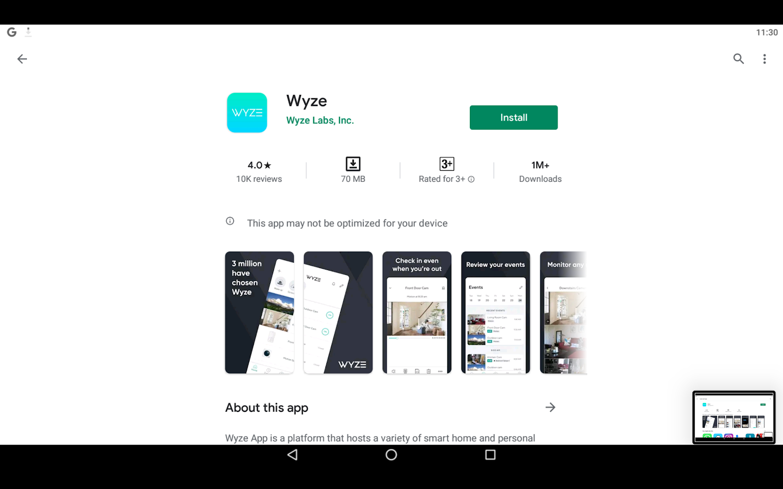 Wyze Cam App on PC with Google Play Store on BlueStacks