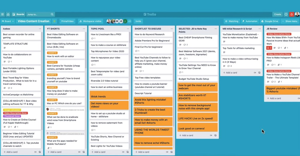 Our Trello board has developed and grown over the years to suit our video creation process
