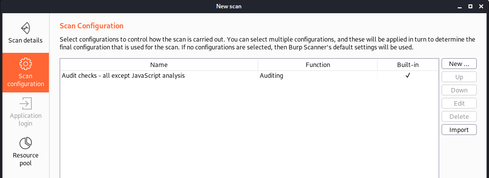 Screenshot of burpsuite says audit checks - all except javascript analysis for the function of auditing.