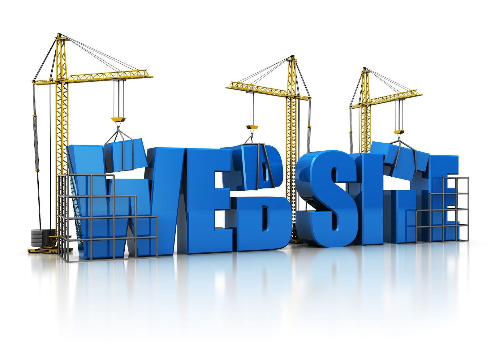 word website being constructed with construction machinery