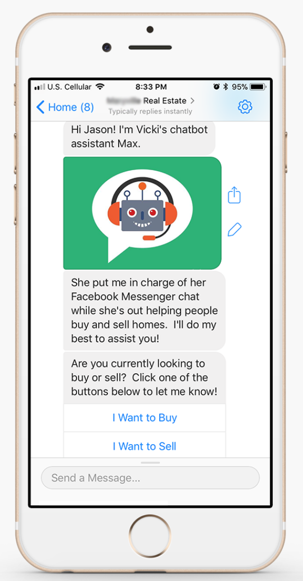 Messenger chatbot for real estate example