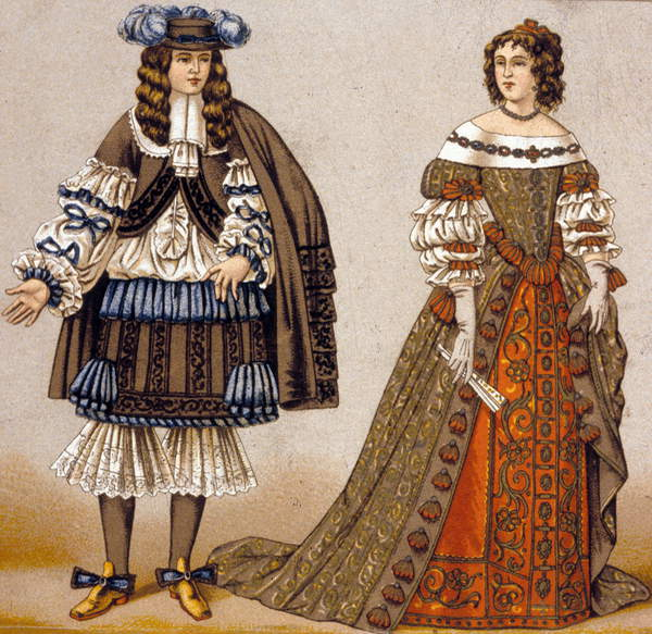 """Image of Illustration of the 19th century for the personages of Alceste and Celimene in Moliere's play """"Le Misanthrope"""", © Bridgeman Images"""