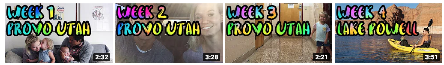 A screenshot of consistent travel thumbnails from YouTube.