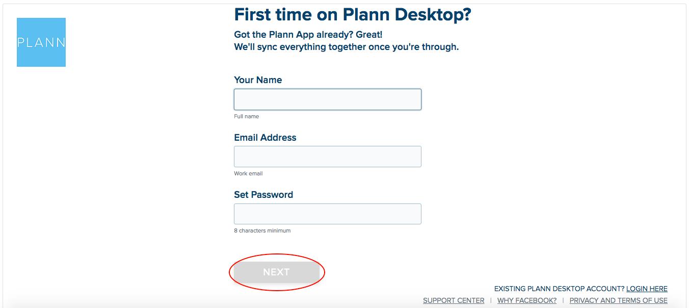 Plann signup