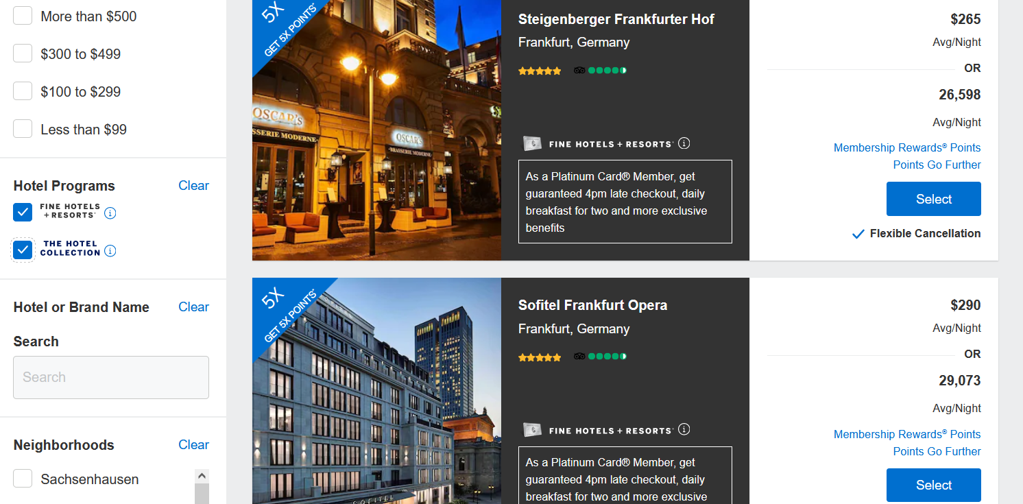 Search results fpr FHR and Hotel Collection properties