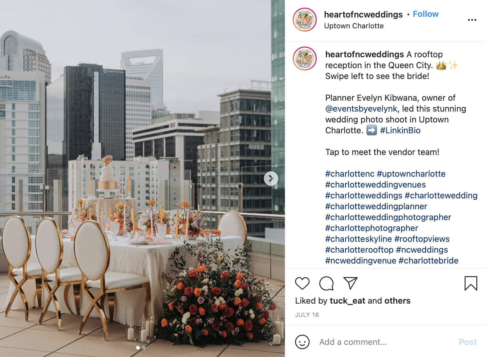 modern rooftop wedding reception
