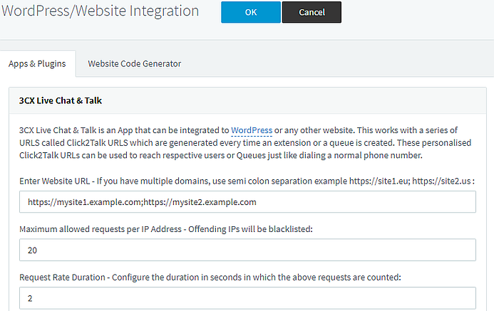 Required parameters for WordPress sites in 3CX Management Console settings.