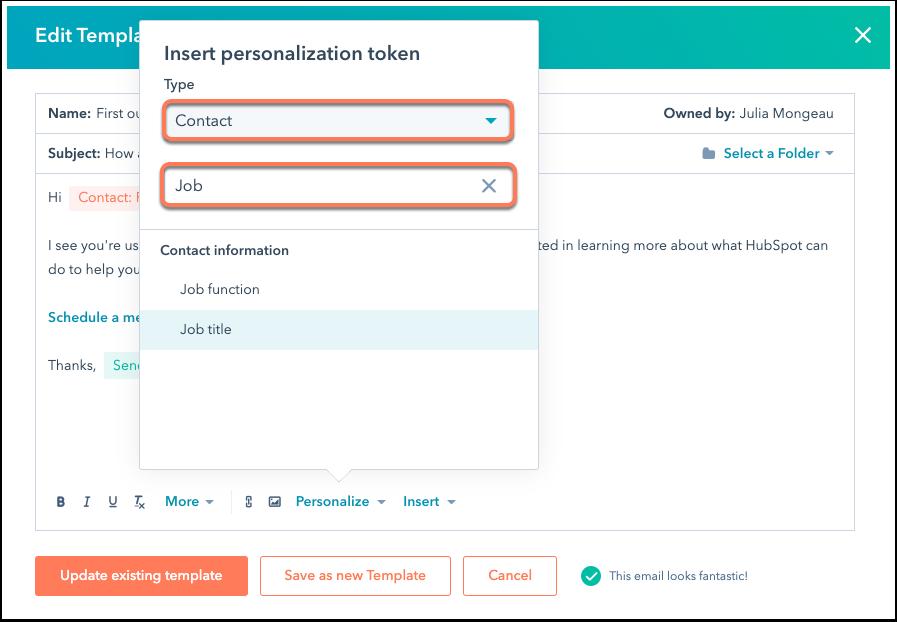 HubSpot's personalization tokens