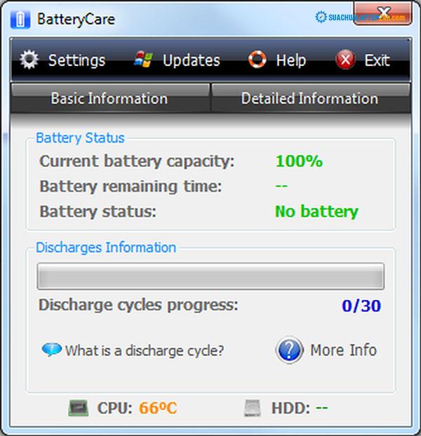 sử dụng chương trình theo dõi pin laptop