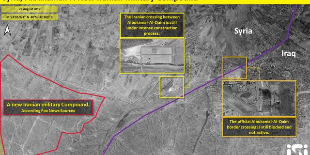 تظهر هذه الصورة مجمعًا عسكريًا إيرانيًا جديدًا ، وفقًا لمصادر Fox News ؛  المركز هو المعبر الإيراني بين البوكيل القائم.  الحق هو المعبر الحدودي الرسمي المحظور وغير النشط.