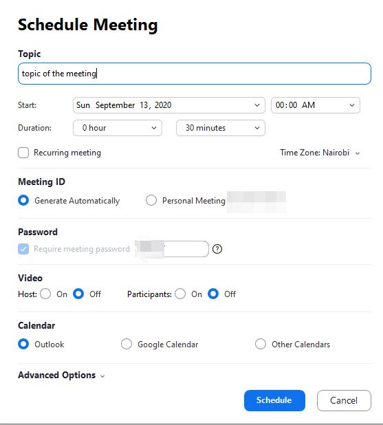 how to schedule zoom meeting