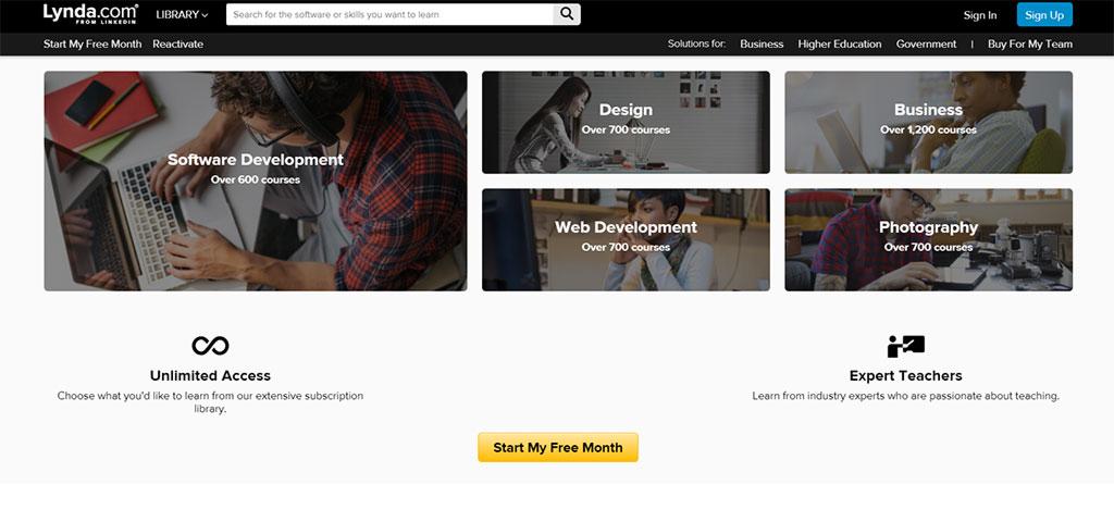 página inicial do site de cursos online lynda.com