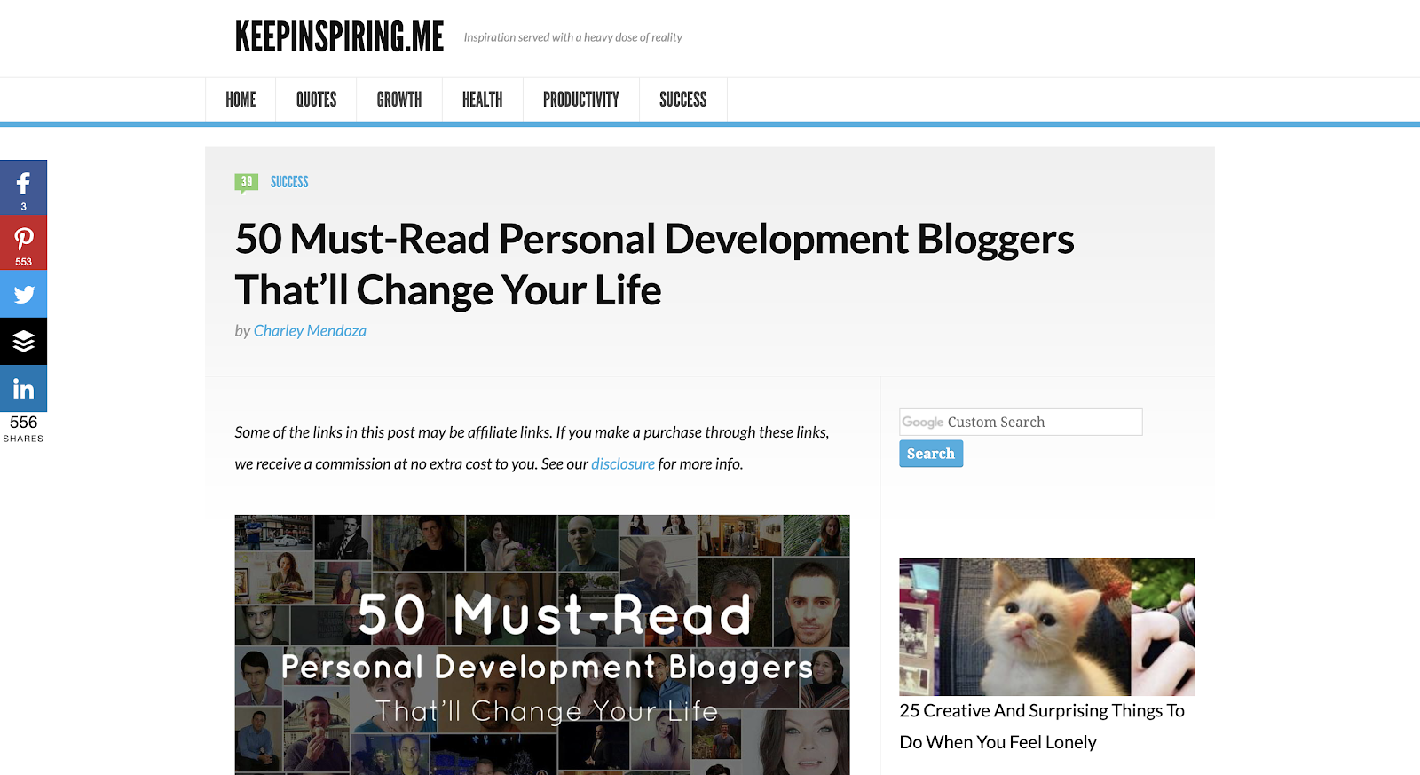 personal development blogs list top page
