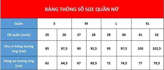 Size quần nữ theo số đo các vòng cơ thể