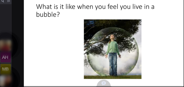 VoiceThread slide with the title question and a girl standing in front of a tree, surrounded by a spherical bubble.