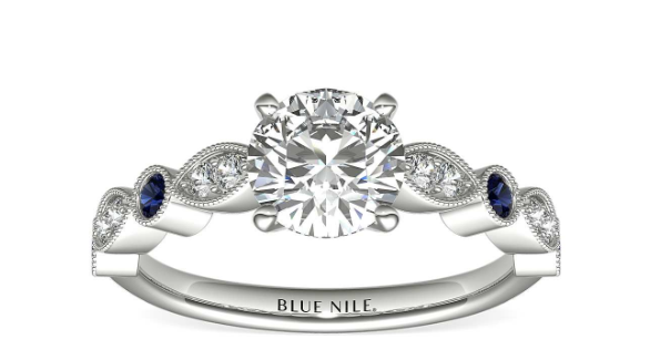 Milgrain Marquise Diamond and Sapphire from Blue Nile