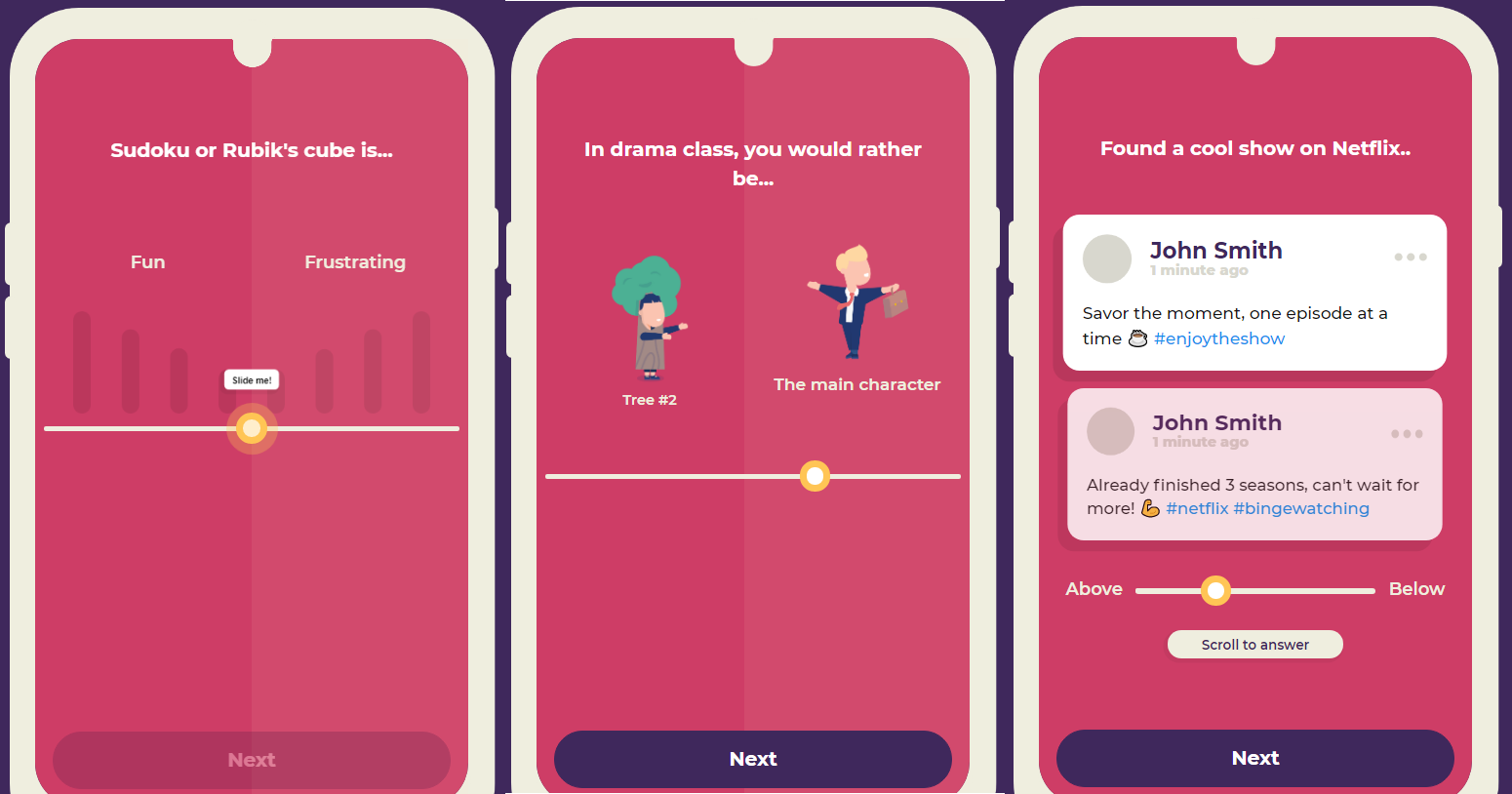 The UI in Dreamtalent is lightweight and gamified in order to improve the experience of the personality test taker. It features a sleek design, images, and mock social media posts.