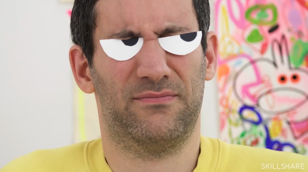 Instructor Jon Burgerman plays with inquisitive homemade googly eyes in the introduction of his Skillshare class.