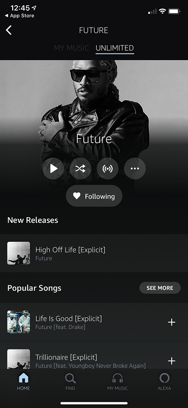 Artist Profile in Amazon Music