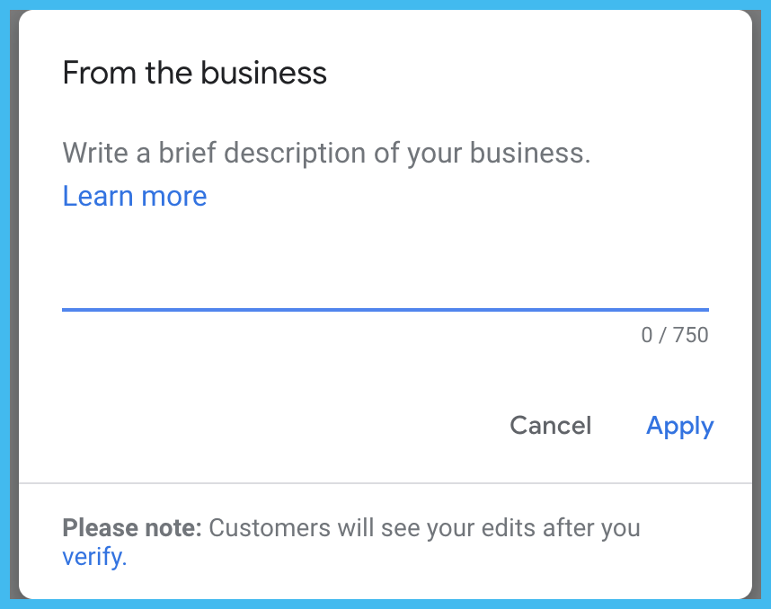 gmb business description