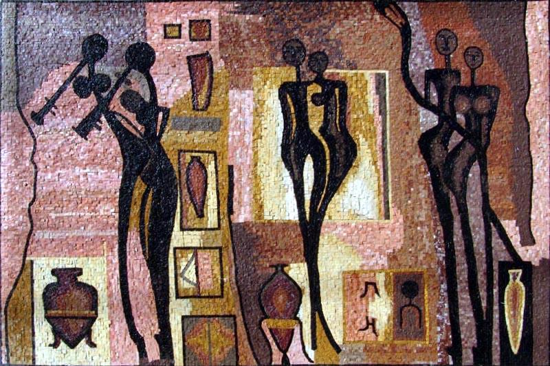 Musical Silhouettes Modern Mosaic by Mozaico