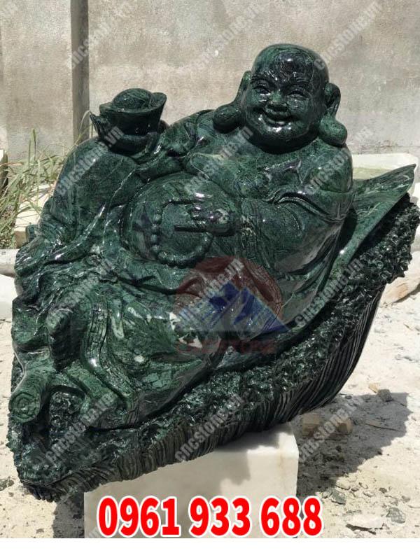 Tượng Di lặc ngồi đá xanh cao cấp - Vật phẩm trưng bày thể hiện sự hoan hỉ, an nhiên