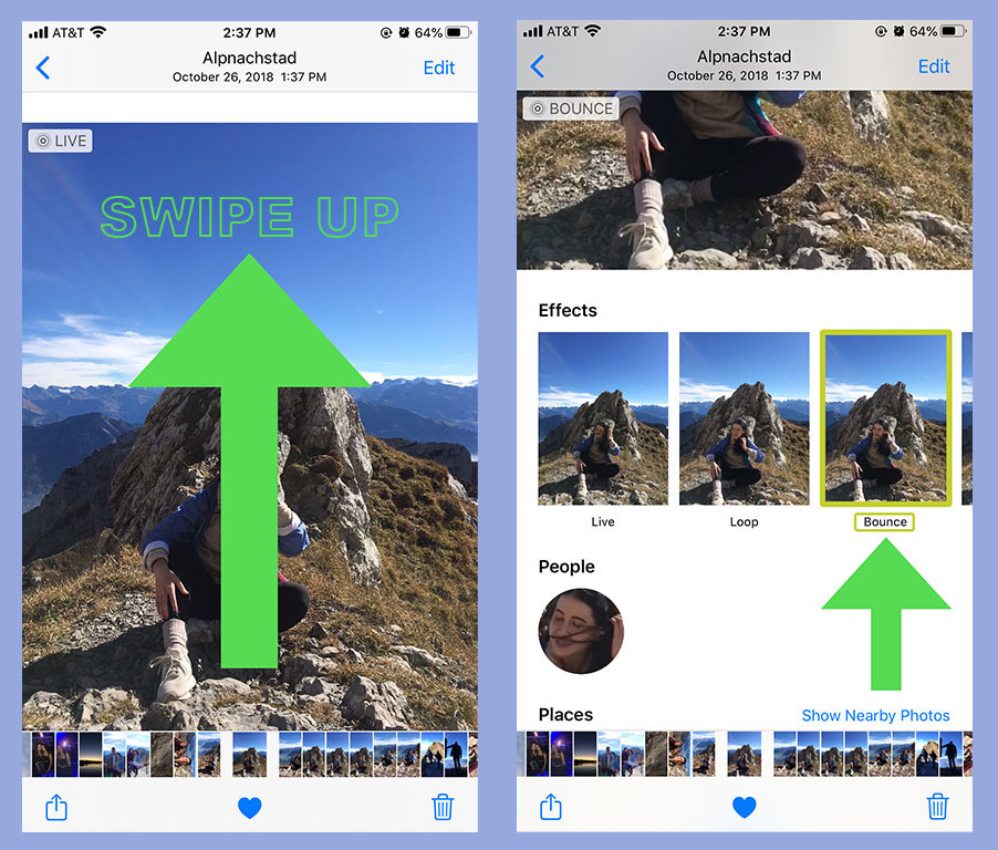 """Screenshots showing how to add a """"Bounce"""" effect to live photos on an iPhone."""