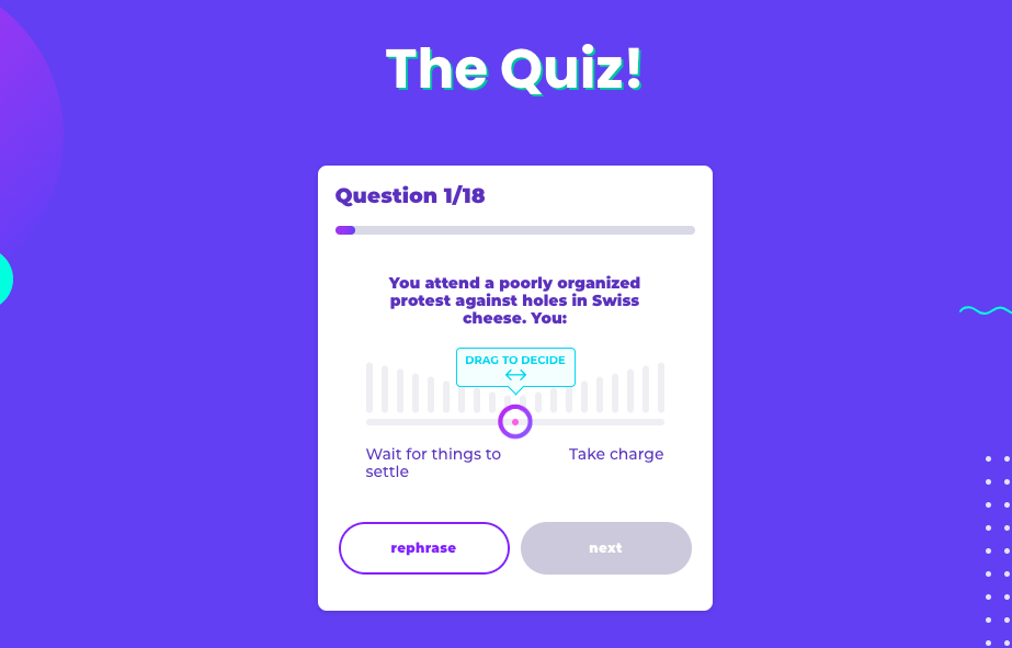 quiz embedded on landing page
