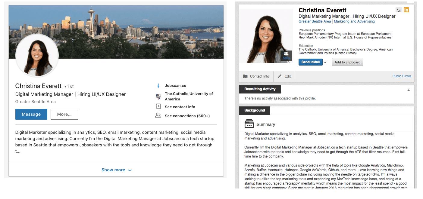 Example of a LinkedIn profile