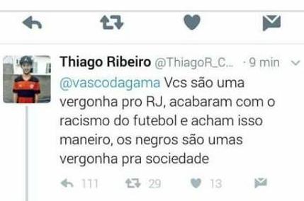 Flamenguista racista no Twitter