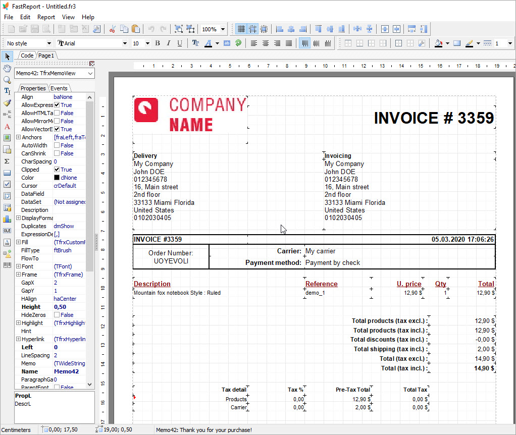 Edit Invoice with FastReport tool using eMagicOne