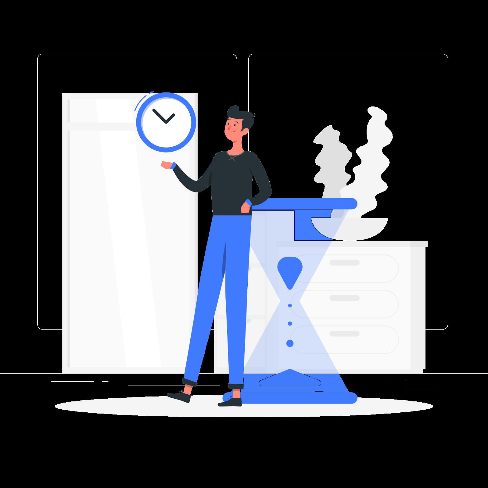 ilustração de um boneco segurando um relógio e apoiado em uma ampulheta para mostrar administração do tempo