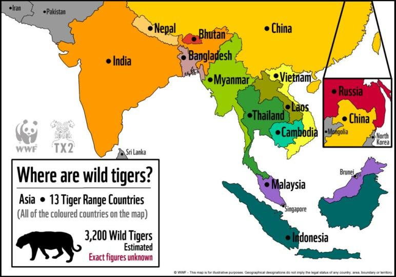 Image result for 13 tiger range countries