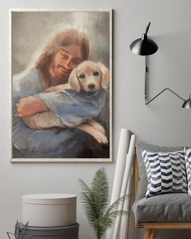 Yellow Lab With Jesus Poster Christian Art Wall Decor - First Fathers Day Gifts