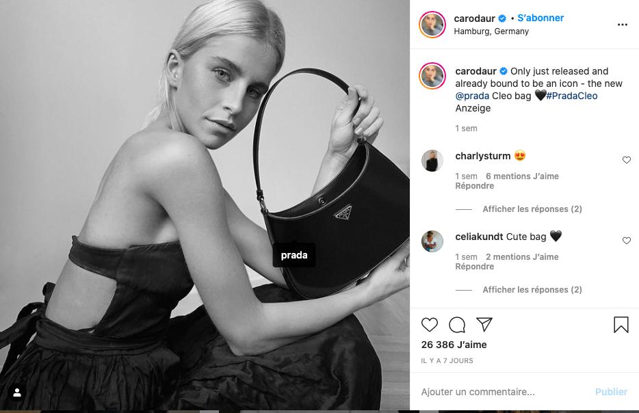 Caroline Daur messages sponsorisés Instagram