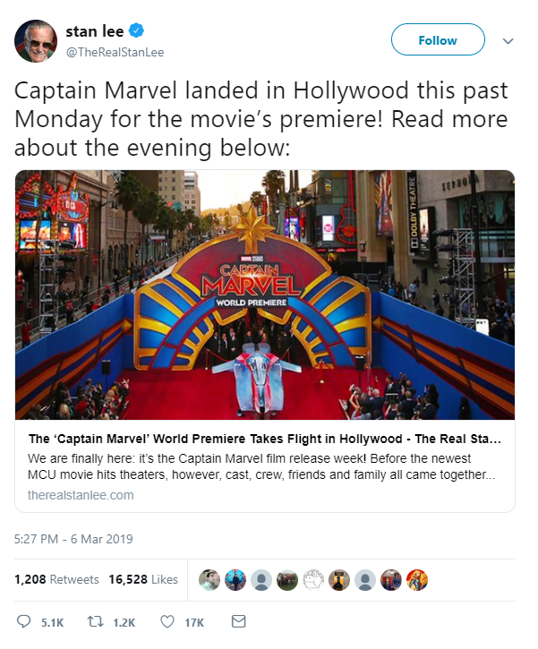The late Stan Lee's account being used to promote Captain Marvel after his death.