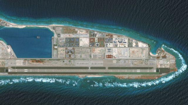 DigitalGlobe overview imagery of the Fiery Cross Reef located in the South China Sea.