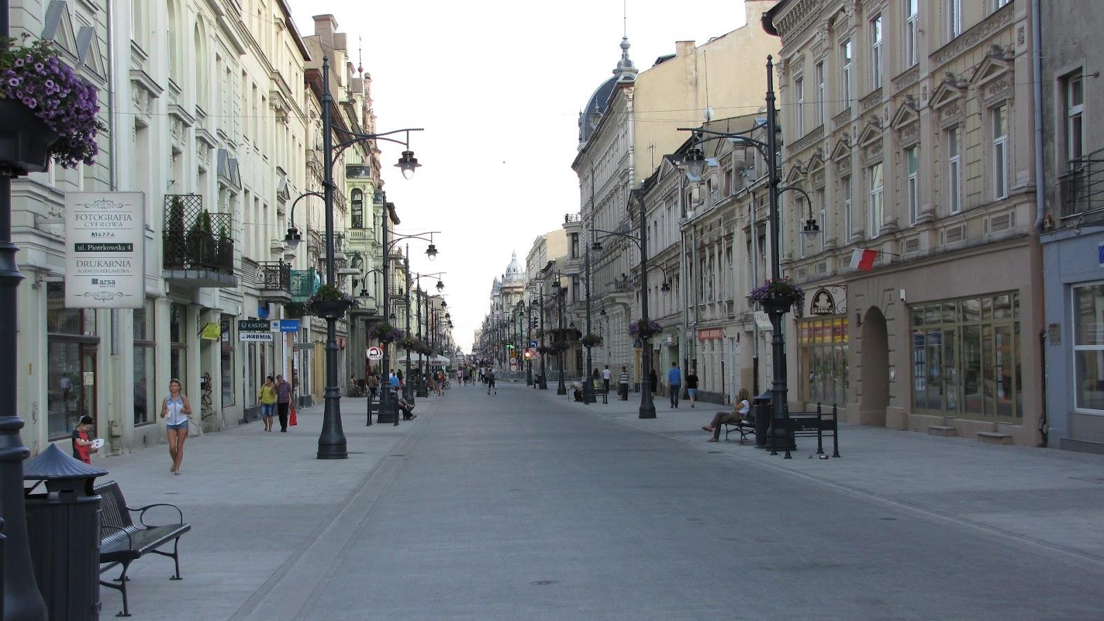 lodz piotrkowska walking street in the summer shops city center poland
