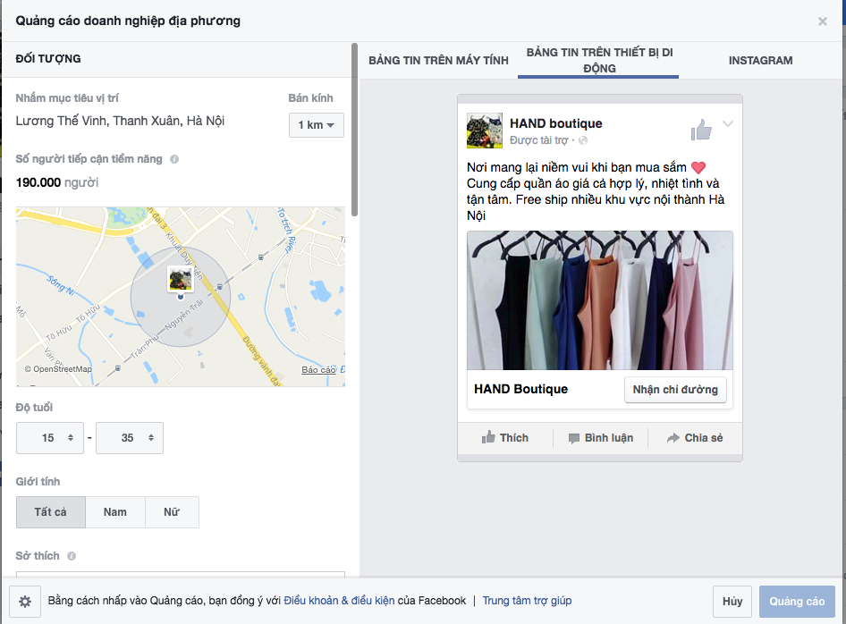 Quảng cáo Facebook với chi phí thấp và có thể lựa chọn được đối tượng tiếp cận