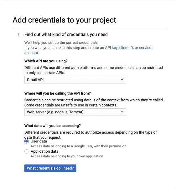 agregue credenciales a su proyecto