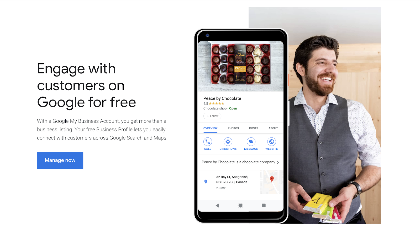 Happy man and Google My Business account displayed on a mobile device