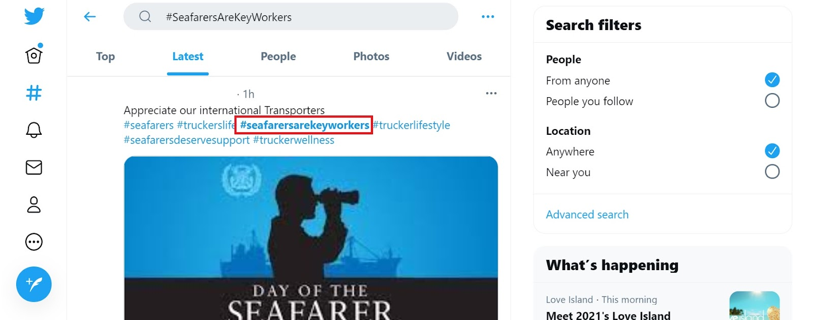 screenshot of the hashtag Seafarers Are Key Workers on Twitter.