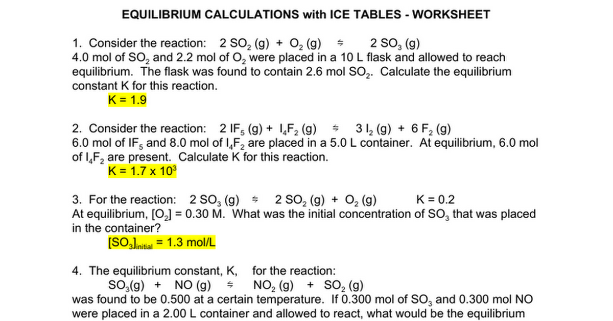 ET07 Equilibrium ICE Calculations Worksheet ANSWERS Google – Equilibrium Worksheet