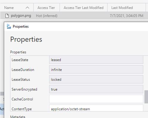 view properties in Azure Blob Storage Explorer