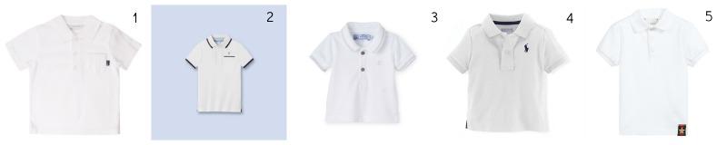 Wimbledon 2016: Spectator Style for Kids JoJo Maman Bébé Boys' Polo Shirt in White £12 Jacadi, Classic Polo Shirt in White £15.40* Petit Bateau, Baby Boy Polo Shirt in White £18.80* Ralph Lauren, Classic Polo in White £39 Gucci, Boys White Cotton Piqué Polo Shirt £110