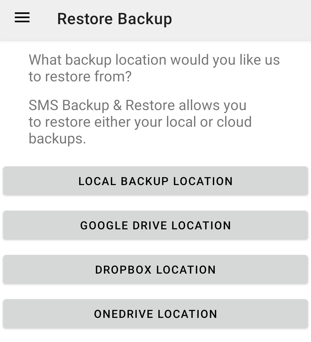 SMS Backup and Restore Backup options